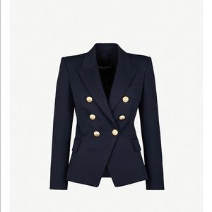 Authentic Balmain Double Breasted Navy Wool Blazer